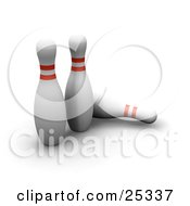 Clipart Illustration Of Two White Bowling Pins With Red Rings Standing Near A Fallen Pin On A White Background