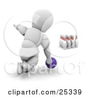 Clipart Illustration Of A Bowling White Character Leaning Down To Release A Purple Bowling Ball To Knock Over Ten Pins At The End Of An Alley On White