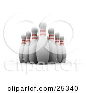 Clipart Illustration Of Ten Tall White Bowling Pins With Red Rings Positioned Upright In The Alley Over A White Background