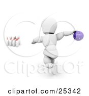 Clipart Illustration Of A White Character About To Release A Purple Bowling Ball To Knock Over Ten Pins At The End Of An Alley On White