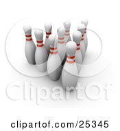 Clipart Illustration Of Ten White Bowling Pins With Red Rings Positioned Upright In The Alley Over A White Background