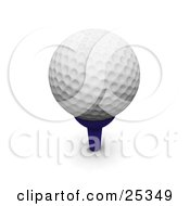 Dimpled White Golf Ball Resting On Top Of A Blue Tee