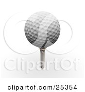 Clipart Illustration Of A Dimpled White Golf Ball On Top Of A Silver Tee