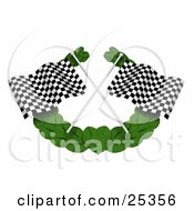 Two Black And White Checkered Racing Flags Crossed Over A Green Leaf Garland