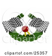 Black And White Checkered Racing Flags A Red First Place Ribbon And Green Leaf Garland