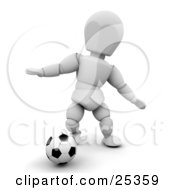 White Character Holding His Arms Out And Dribbling A Soccer Ball During A Game