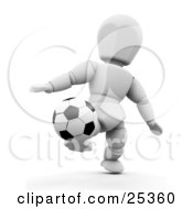 White Character Kicking A Soccer Ball Up While Playing A Game