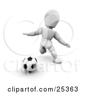 Clipart Illustration Of A White Character Running And Preparing To Kick A Soccer Ball During A Game