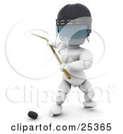 Clipart Illustration Of A White Character Wearing A Helmet And Holding Back A Hockey Stick Preparing To Hit A Puck by KJ Pargeter