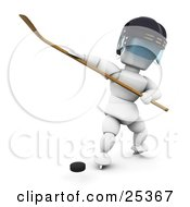 Clipart Illustration Of A White Character In A Helmet Preparing To Hit A Puck With A Hockey Stick by KJ Pargeter