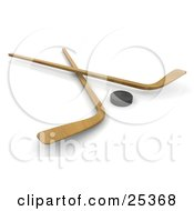 Clipart Illustration Of Two Wooden Hockey Sticks Crossed By A Black Puck by KJ Pargeter