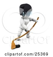 Clipart Illustration Of A White Character Pushing A Puck Along The Ice With A Hockey Stick by KJ Pargeter