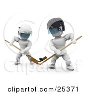 Clipart Illustration Of Two White Characters Opponents Juggling With The Puck And Sticks During A Hockey Game by KJ Pargeter