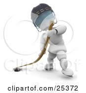Clipart Illustration Of A White Character Wearing A Helmet Hitting A Puck With A Hockey Stick During A Game by KJ Pargeter
