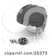 Clipart Illustration Of A Hockey Referees Black Helmet Puck And A Silver Whistle by KJ Pargeter