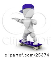 Clipart Illustration Of A White Character Wearing A Blue Hat Holding His Arms Out And Skateboarding