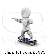 Clipart Illustration Of A White Character With His Arms Out For Balance On A Blue Skateboard by KJ Pargeter