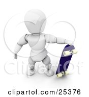 Clipart Illustration Of A White Character Standing And Holding Up His Blue Skateboard