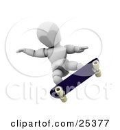 Clipart Illustration Of A White Character Balancing Himself With His Arms While Doing Tricks On His Skateboard