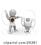 Clipart Illustration Of A Successful White Character Wearing A Red First Place Ribbon Waving And Standing By A Silver Trophy Cup