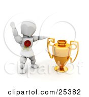 Clipart Illustration Of A Successful White Character Wearing A Red First Place Ribbon Waving And Standing By A Golden Trophy Cup