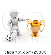 White Character Resting His Foot On A Soccer Ball And Proudly Displaying His Golden First Place Trophy