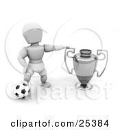 White Character Resting His Foot On A Soccer Ball And Proudly Displaying His Silver First Place Trophy