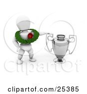 Clipart Illustration Of A White Character Wearing A Green Leaf Garland And A First Place Ribbon And Standing By A Silver Trophy Cup