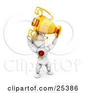 Clipart Illustration Of A Proud White Character Holding Up A Golden First Place Trophy Cup And Wearing A Red Ribbon