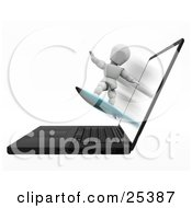 Clipart Illustration Of A White Character Holding His Arms Out For Balance While Surfing On A Board Coming Out Of A Laptop Computer by KJ Pargeter