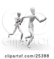 Two White Figure Characters Passing A Baton While Running In A Relay Race