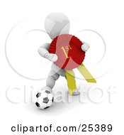 Clipart Illustration Of A White Character Resting His Foot On A Soccer Ball And Holding His Red First Place Ribbon by KJ Pargeter