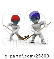 Clipart Illustration Of Two White Characters Competing With Hockey Sticks During A Game
