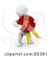 Clipart Illustration Of A White Character Holding A Large Red And Yellow First Place Ribbon