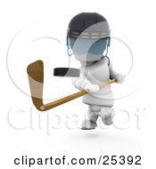 Clipart Illustration Of A Hockey Puck Flying Through The Air After Being Hit By A White Character With A Stick