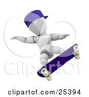 Clipart Illustration Of A White Character With A Blue Hat Holding His Arms Out For Balance While Skateboarding by KJ Pargeter