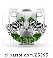 Two Checkered Racing Flags Crossed Over A Green Leaf Garland In Front Of A Silver First Place Trophy Cup