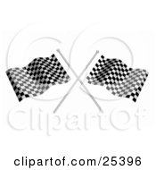 Two Waving Checkered Racing Flags On Silver Poles