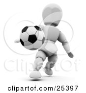 Clipart Illustration Of A Black And White Soccer Ball Suspended In Mid Air Near A White Character