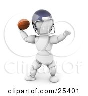 Clipart Illustration Of A White Character In A Helmet Preparing To Throw A Football During A Game by KJ Pargeter