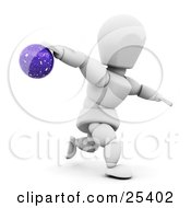 White Character With His Arm Behind Preparing To Release A Bowling Ball On White