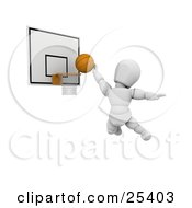 White Character Jumping To Score By Putting The Basketball Through The Hoop