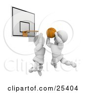 Clipart Illustration Of A White Character Leaping To Block An Opponent From Scoring During A Basketball Game