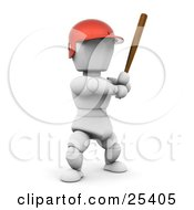 White Character In A Red Helmet Standing And Holding A Baseball Bat During A Game