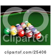Clipart Illustration Of Racked Billiards Pool Balls On The Green Of A Table