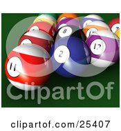 Racked Billiards Pool Balls On The Green Of A Table
