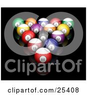 Clipart Illustration Of Billiards Pool Balls Racked On A Reflective Black Surface
