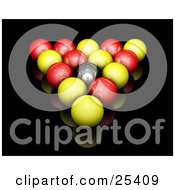 Red Yellow And Black Racked English Billiards Pool Balls On A Reflective Black Surface