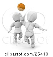 Clipart Illustration Of A White Character Reaching Up To Steal The Basketball From An Opponent During A Game