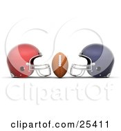 Clipart Illustration Of A Football Centered Between Red And Blue Helmets